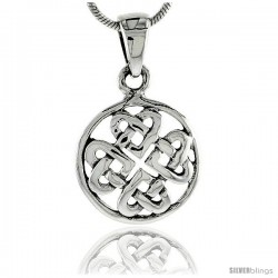 Sterling Silver Celtic Knot Hearts Pendant, 3/4 in