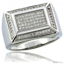 Sterling Silver Men's Rectangular Ring 81 Micro Pave CZ Stones, 1/2inch (14 mm) wide