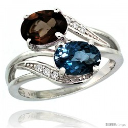14k White Gold ( 8x6 mm ) Double Stone Engagement London Blue & Smoky Topaz Ring w/ 0.07 Carat Brilliant Cut Diamonds & 2.34