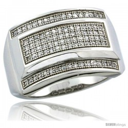 Sterling Silver Men's Large Rectangular Ring 90 Micro Pave CZ Stones, 19/32 in (15 mm) wide