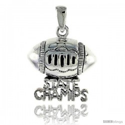 Sterling Silver State Champs Football Talking Pendant, 3/4 in tall