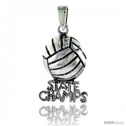 Sterling Silver State Champs Volleyball Talking Pendant, 7/8 in tall