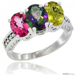 10K White Gold Natural Pink Topaz, Mystic Topaz & Lemon Quartz Ring 3-Stone Oval 7x5 mm Diamond Accent