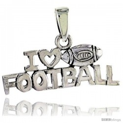 Sterling Silver I Love Football Talking Pendant, 1 in wide