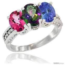 10K White Gold Natural Pink Topaz, Mystic Topaz & Tanzanite Ring 3-Stone Oval 7x5 mm Diamond Accent