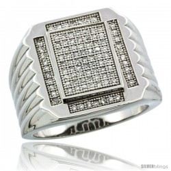 Sterling Silver Men's Large Rectangular Ribbed Ring 97 Micro Pave CZ Stones, 3/4 in (18 mm) wide