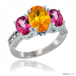 10K White Gold Ladies Natural Citrine Oval 3 Stone Ring with Pink Topaz Sides Diamond Accent