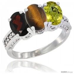 10K White Gold Natural Garnet, Tiger Eye & Lemon Quartz Ring 3-Stone Oval 7x5 mm Diamond Accent