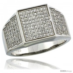 Sterling Silver Men's Square Ring 170 Micro Pave CZ Stones, 1/2 in (12 mm) wide