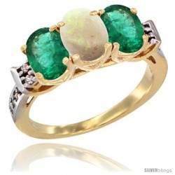 10K Yellow Gold Natural Opal & Emerald Sides Ring 3-Stone Oval 7x5 mm Diamond Accent