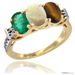 10K Yellow Gold Natural Emerald, Opal & Tiger Eye Ring 3-Stone Oval 7x5 mm Diamond Accent