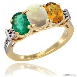 10K Yellow Gold Natural Emerald, Opal & Whisky Quartz Ring 3-Stone Oval 7x5 mm Diamond Accent