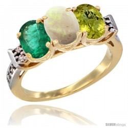 10K Yellow Gold Natural Emerald, Opal & Lemon Quartz Ring 3-Stone Oval 7x5 mm Diamond Accent