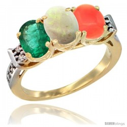 10K Yellow Gold Natural Emerald, Opal & Coral Ring 3-Stone Oval 7x5 mm Diamond Accent