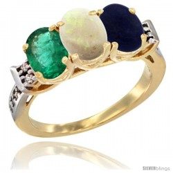 10K Yellow Gold Natural Emerald, Opal & Lapis Ring 3-Stone Oval 7x5 mm Diamond Accent