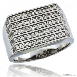 Sterling Silver Men's 5-Row Stripe Ring 95 Micro Pave CZ Stones, 1/2 in (13 mm) wide