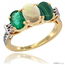 10K Yellow Gold Natural Emerald, Opal & Malachite Ring 3-Stone Oval 7x5 mm Diamond Accent