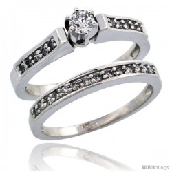 14k White Gold 2-Piece Diamond Engagement Ring Band Set w/ 0.41 Carat Brilliant Cut Diamonds, 1/8 in. (3mm) wide