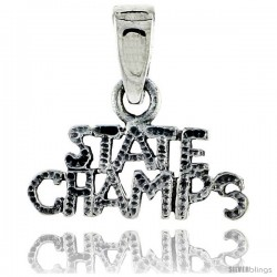 Sterling Silver State Champs Talking Pendant, 5/8 in wide