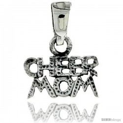 Sterling Silver Cheer Mom Talking Pendant, 3/8 in tall