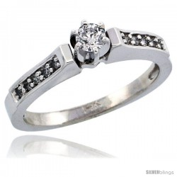 14k White Gold Diamond Engagement Ring w/ 0.27 Carat Brilliant Cut Diamonds, 1/8 in. (3mm) wide -Style 14w923er