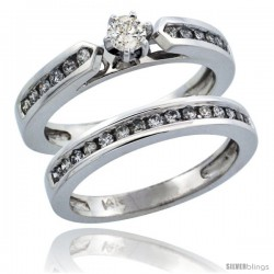 14k White Gold 2-Piece Diamond Engagement Ring Band Set w/ 0.56 Carat Brilliant Cut Diamonds, 1/8 in. (3mm) wide