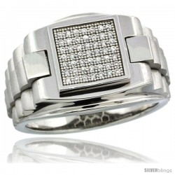 Sterling Silver Men's Rolex Style Square Ring 49 Micro Pave CZ Stones, 5/8 in (16 mm) wide