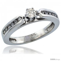 14k White Gold Diamond Engagement Ring w/ 0.35 Carat Brilliant Cut Diamonds, 1/8 in. (3mm) wide
