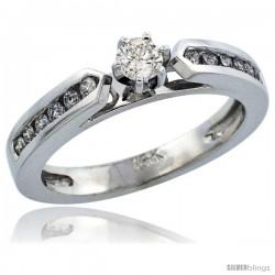 14k White Gold Diamond Engagement Ring w/ 0.35 Carat Brilliant Cut Diamonds, 1/8 in. (3mm) wide