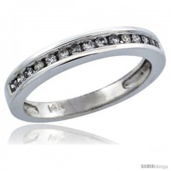 14k White Gold Ladies' Diamond Ring Band w/ 0.21 Carat Brilliant Cut Diamonds, 1/8 in. (3mm) wide