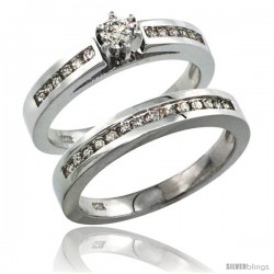 14k White Gold 2-Piece Diamond Engagement Ring Band Set w/ 0.42 Carat Brilliant Cut Diamonds, 1/8 in. (3mm) wide