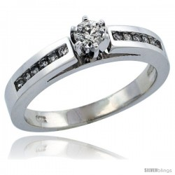 14k White Gold Diamond Engagement Ring w/ 0.28 Carat Brilliant Cut Diamonds, 1/8 in. (3mm) wide