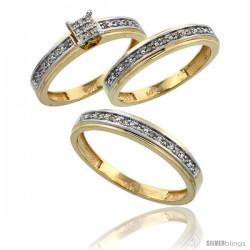 14k Gold 3-Piece Trio His (4mm) & Hers (4mm) Diamond Wedding Band Set, w/ 0.29 Carat Brilliant Cut Diamonds -Style Ljy202w3