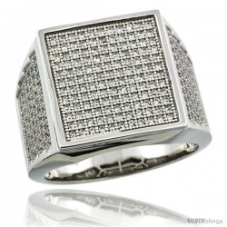 Sterling Silver Men's Large Square Ring 262 Micro Pave CZ Stones, 3/4 in (17 mm) wide