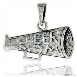 Sterling Silver Cheer Mom on Megaphone Talking Pendant, 3/8 in tall