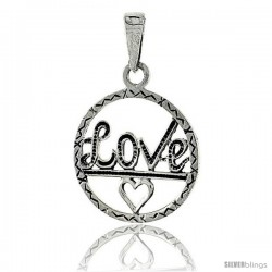 Sterling Silver LOVE w/ Heart Cut-out Talking Pendant, 1 in tall