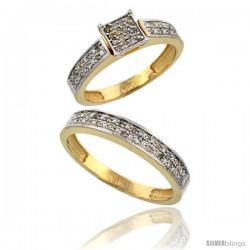 14k Gold 2-Piece Diamond Ring Set ( Engagement Ring & Man's Wedding Band ), w/ 0.24 Carat Brilliant Cut -Style Ljy203em