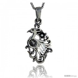 Sterling Silver Peacock Pendant, 1 1/4 in tall