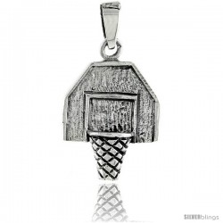 Sterling Silver Basketball Board Pendant, 3/4 in tall