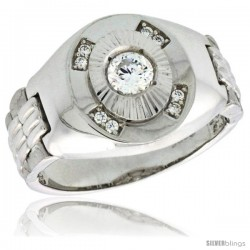 Sterling Silver Men's Style Ring CZ Stones, 1/2 in (15 mm) wide