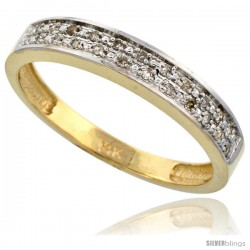 14k Gold Men's Diamond Band, w/ 0.10 Carat Brilliant Cut Diamonds, 5/32 in. (4mm) wide -Style Ljy203mb