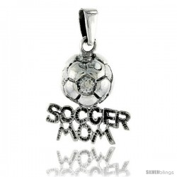 Sterling Silver Soccer Mom Soccer Ball Talking Pendant, 3/4 in tall