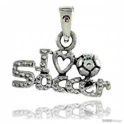 Sterling Silver I Love Soccer Talking Pendant, 3/4 in wide