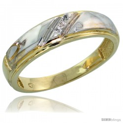 Gold Plated Sterling Silver Ladies Diamond Wedding Band, 7/32 in wide