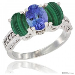 14K White Gold Natural Tanzanite Ring with Malachite 3-Stone 7x5 mm Oval Diamond Accent