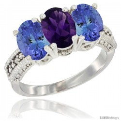 14K White Gold Natural Amethyst Ring with Tanzanite 3-Stone 7x5 mm Oval Diamond Accent