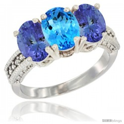 14K White Gold Natural Swiss Blue Topaz Ring with Tanzanite 3-Stone 7x5 mm Oval Diamond Accent