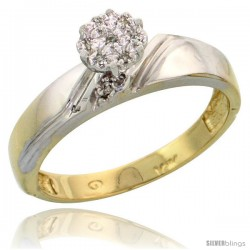 10k Yellow Gold Diamond Engagement Ring 0.05 cttw Brilliant Cut, 3/16 in wide