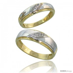 Gold Plated Sterling Silver Diamond 2 Piece Wedding Ring Set His 7mm & Hers 5.5mm