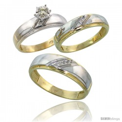 Gold Plated Sterling Silver Diamond Trio Wedding Ring Set His 7mm & Hers 5.5mm